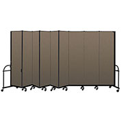 "Screenflex 9 Panel Heavy Duty Portable Room Divider - 7' 4""H x 16' 9""L - Fabric Color: Walnut"