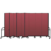 "Screenflex 9 Panel Heavy Duty Portable Room Divider - 7' 4""H x 16' 9""L - Fabric Color: Red"