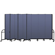"Screenflex 9 Panel Heavy Duty Portable Room Divider - 7'4""H x 16'9""L - Fabric Color: Blue"