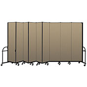 "Screenflex 9 Panel Heavy Duty Portable Room Divider - 7' 4""H x 16' 9""L - Fabric Color: Desert"