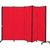 Healthflex Portable Medical Privacy Screen, 5-Panel, Primary Red