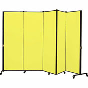 Healthflex Portable Medical Privacy Screen, 5-Panel, Primary Yellow