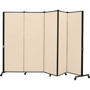 Healthflex Portable Medical Privacy Screen, 5-Panel, Vinyl Hazelnut