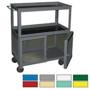 Securall® WC10 3-Tier Mobile Shop Cart with Padlockable Hasp Blue