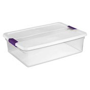 "Sterilite Clearview Storage Box With Latched Lid 17551706 - 32 Qt. 23-5/8""L x 16-3/8""W x 6-1/2""H - Pkg Qty 6"