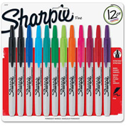 Sharpie® Retractable Permanent Marker, Fine Point, Assorted Ink, 12/Set