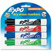 Sanford® Expo Scented Whiteboard Marker, Black/Blue/Red/Green Ink, 4/Set