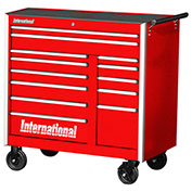 "SPG International PRB-4213RD Professional 42"" 13-Drawer Roller Cabinet W/ Ball Bearing Slides, Red"