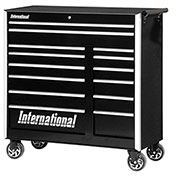 "SPG International PRB-4214BK Professional 42"" 14-Drawer Roller Cabinet W/ Ball Bearing Slides, Black"