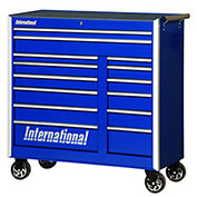 "SPG International PRB-4214BU Professional 42"" 14-Drawer Roller Cabinet W/ Ball Bearing Slides, Blue"