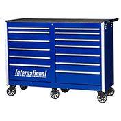 "SPG International PRB-5413BU Professional 54"" 13-Drawer Roller Cabinet W/ Ball Bearing Slides, Blue"