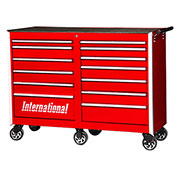 "SPG International PRB-5413RD Professional 54"" 13-Drawer Roller Cabinet W/ Ball Bearing Slides, Red"