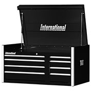 "SPG International PRT-4208BK Professional 42"" 8-Drawer Top Chest W/ Ball Bearing Slides, Black"