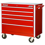 "SPG International SRB-4205RD SHD 42"" 5-Drawer Roller Cabinet W/ Ball Bearing Slides, Red"
