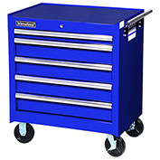 "SPG International VRB-2705BU 27"" 5-Drawer Roller Cabinet W/ Ball Bearing Slides, Blue"