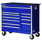 "SPG International VRB-4211BU 42"" 11-Drawer Roller Cabinet W/ Ball Bearing Slides, Blue"