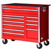 "SPG International VRB-4211RD 42"" 11-Drawer Roller Cabinet W/ Ball Bearing Slides, Red"