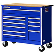 "SPG International VRB-4211WTBU 42"" 11Drawer Roller Cabinet With Wood Top W/ Ball Bearing Slides Blue"