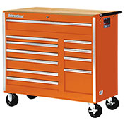 "SPG International VRB-4211WTOR 42""11Drawer Roller Cabinet With Wood Top W/Ball Bearing Slides Orange"