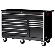 "SPG International VRB-5610BK 56"" 10-Drawer Roller Cabinet W/ Ball Bearing Slides, Black"