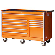 "SPG International VRB-5610OR 56"" 10-Drawer Roller Cabinet W/ Ball Bearing Slides, Orange"