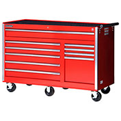 "SPG International VRB-5610RD 56"" 10-Drawer Roller Cabinet W/ Ball Bearing Slides, Red"