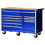 "SPG International VRB-5610WTBU 56"" 10-Drawer Roller Cabinet W/ Wood Top W/ Ball Bearing Slides, Blue"