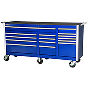 "SPG International VRB-7515BU 75"" 15-Drawer Roller Cabinet W/ Ball Bearing Slides, Blue"