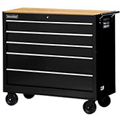 "SPG International WRB-4205WTBK 42"" 5-Drawer Cabinet W/ WoodTop W/ Ball Bearing Slides Roller , Black"