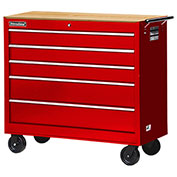 "SPG International WRB-4205WTRD 42"" 5-Drawer Cabinet W/ WoodTop W/ Ball Bearing Slides Roller, Red"