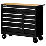 "SPG International WRB-4209WTBK 42"" 9-Drawer Cabinet W/ WoodTop W/ Ball Bearing Slides Roller, Black"