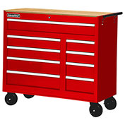 "SPG International WRB-4209WTRD 42"" 9-Drawer Cabinet W/ WoodTop W/ Ball Bearing Slides Roller, Red"
