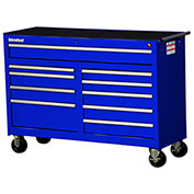 "SPG International WRB-5410BU 54"" 10-Drawer Roller Cabinet W/ Ball Bearing Slides, Blue"