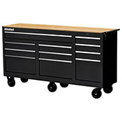 "SPG International WRB-7311WTBK 73"" 11-Drawer Roller Cabinet W/ WoodTop W/ Ball Bearing Slides, Black"