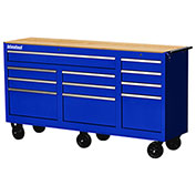 "SPG International WRB-7311WTBU 73"" 11-Drawer Roller Cabinet W/ WoodTop W/ Ball Bearing Slides, Blue"