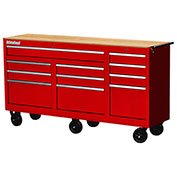 "SPG International WRB-7311WTRD 73"" 11-Drawer Roller Cabinet W/ WoodTop W/ Ball Bearing Slides, Red"