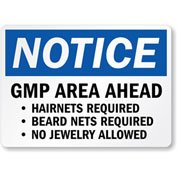 MySafetySign GMP Area Ahead Hairnets Required, Beard Nets, Adhesive Signs and Labels, 5