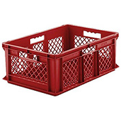 "SSI Schaefer Euro-Fix Mesh Container EF6223 - 24"" x 16"" x 8"", Red"