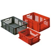 "SSI Schaefer Euro-Fix Solid Base/Mesh Sides Container EF6241 - 24"" x 16"" x 9"", Red"