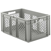 "SSI Schaefer Euro-Fix Solid Base/Mesh Sides Container EF6281 - 24"" x 16"" x 11"", Gray"