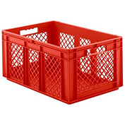 "SSI Schaefer Euro-Fix Solid Base/Mesh Sides Container EF6281 - 24"" x 16"" x 11"", Red"