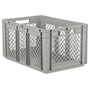 "SSI Schaefer Euro-Fix Solid Base/Mesh Sides Container EF6321 - 24"" x 16"" x 13"", Gray"