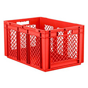 "SSI Schaefer Euro-Fix Solid Base/Mesh Sides Container EF6321 - 24"" x 16"" x 13"", Red"