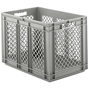 "SSI Schaefer Euro-Fix Solid Base/Mesh Sides Container EF6421 - 24"" x 16"" x 17"", Gray"