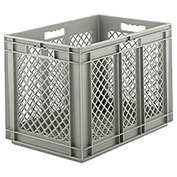"SSI Schaefer Euro-Fix Mesh Container EF6423 - 24"" x 16"" x 1"", Gray"