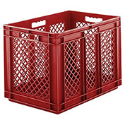 "SSI Schaefer Euro-Fix Mesh Container EF6423 - 24"" x 16"" x 1"", Red"