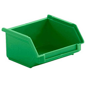 SSI Schaefer  LF040402.DGN1 - 4 x 4 x 2 LF Hopper Front Stacking Bin with Permanent Dividers, Green