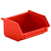 SSI Schaefer  LF040402.DRD1 - 4 x 4 x 2 LF Hopper Front Stacking Bin with Permanent Dividers, Red,