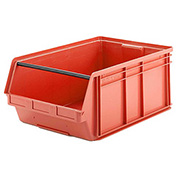 SSI Schaefer  LF291812.0RD1 - 18 x 29 x 12 LF Hopper Front Plastic Stacking Bin, Red,