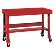 "Shureshop® bench w/acc kit-portable,painted steel top,60"" x 29""-Carmine Red"
